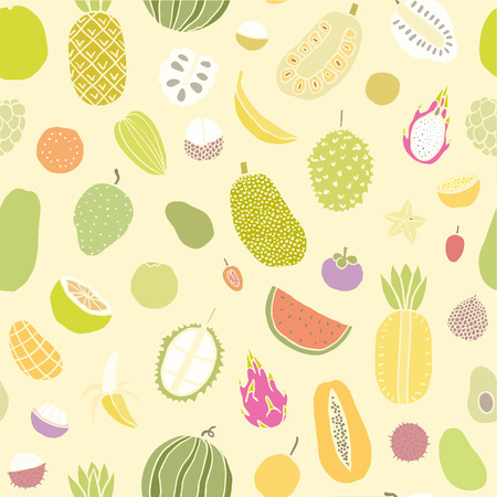 annona: Tropical fruits seamless pattern. Vector hand drawn illustration