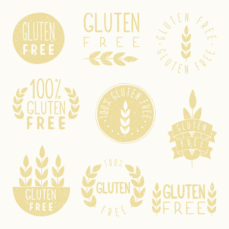 celiac: Gluten free badges. Vector hand drawn illustration.