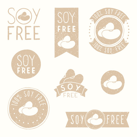 soy free: Soy free badges. Hand drawn vector illustration