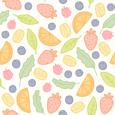 various: Doodle fruits and berries seamless pattern. Vector illustration Illustration