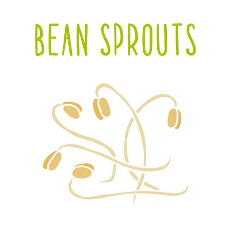 soy bean: Bean sprouts isolated on white. Illustration