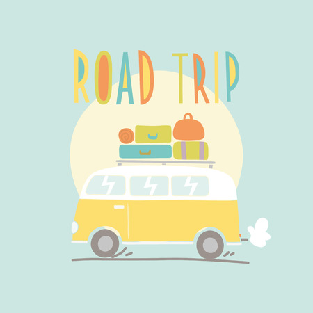 Road trip. Van with a lot of luggage. Hand drawn illustration Vettoriali