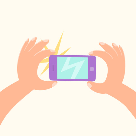 Cartoon hand making a photo by smartphone. Vector hand drawn illustration