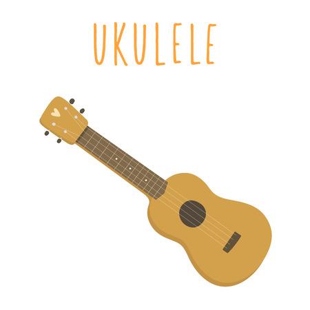 ウクレレ、ハワイアン ギター。白で隔離。ベクトル手描き下ろしイラスト