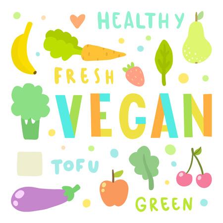 Vegan illustration. Vegetables and fruits. Hand drawn vector