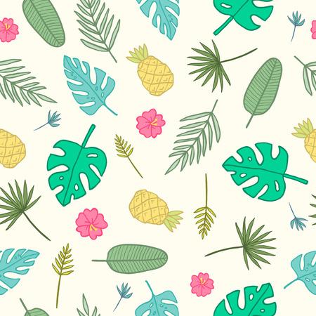 Cartoon tropische patroon. Vector hand getrokken naadloos patroon