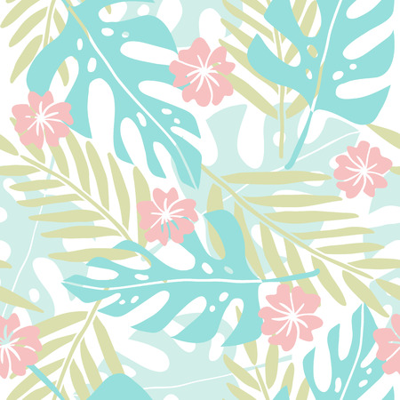 Cute hand drawn tropical seamless pattern. Vector hand drawn illustration