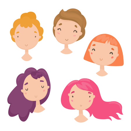 Collection of cute girls faces. Vector hand drawn illustration