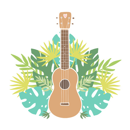 Ukulele and tropical leafs. Vector hand drawn illustration
