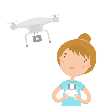 controlling: Girl with remote controlling aerial drone. Vector hand drawn cartoon illustration