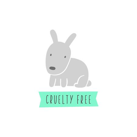Rabbit sign. Cruelty free sign. Vegan. Vector hand drawn illustration Stock Photo