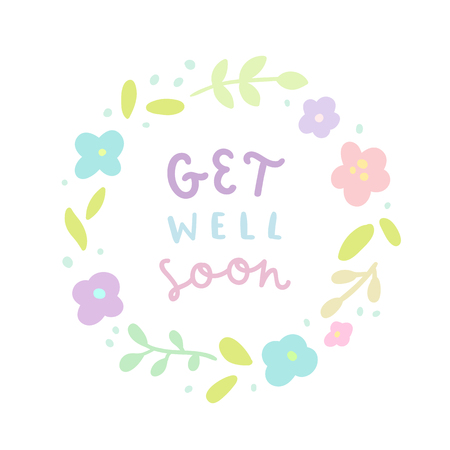 Get well soon. Floral laurel and hand drawn text. Vector illustration Stock Photo