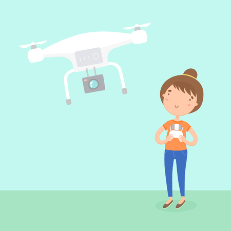 Girl piloted a drone. Vector hand drawn cartoon illustration. Stock Photo