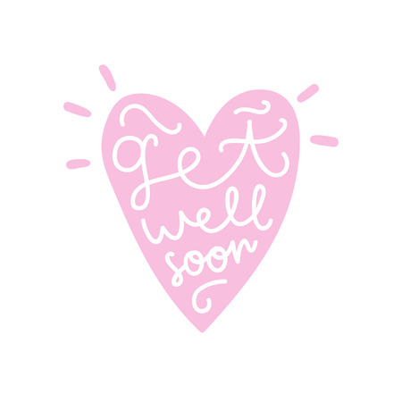 Get well soon. Heart silhouette and hand written text. Vector illustration