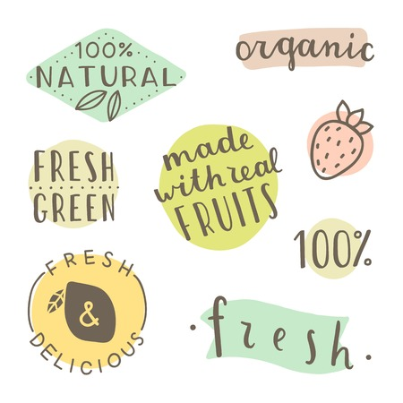 Set of hand drawn cute labels. It can be used for smoothie, juice packaging design