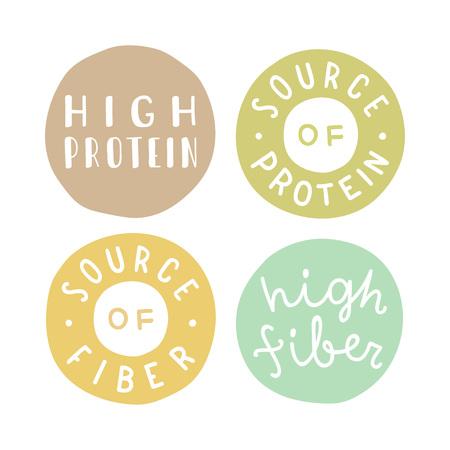 source: Badges set. High protein, fiber, source of protein. Vector hand drawn illustration Illustration