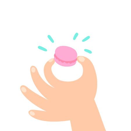 porcion de torta: Mano sosteniendo macarrones. Ilustración aislada de dibujos animados de vector