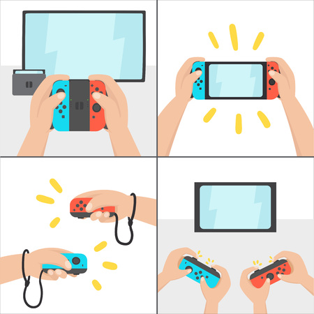 New switching gaming system. Portable console. Vector hand drawn illustration