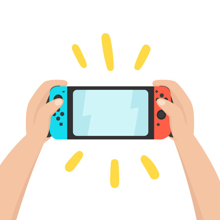 Hands holding portable console. Vector hand drawn illustration. Illustration