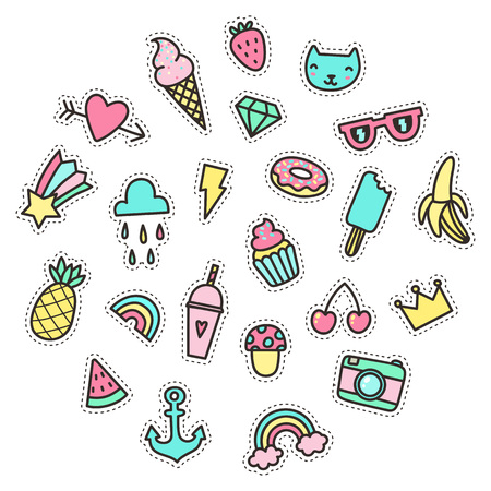 Cute funny small objects. Food and symbols etc. Vector illustration. Ilustração