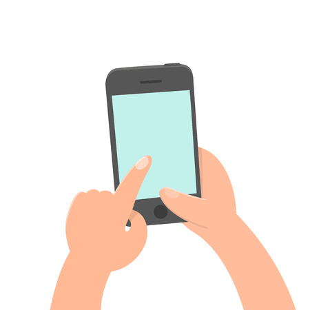 Finger tap on the screen. Smartphone. Vector hand drawn cartoon style illustration