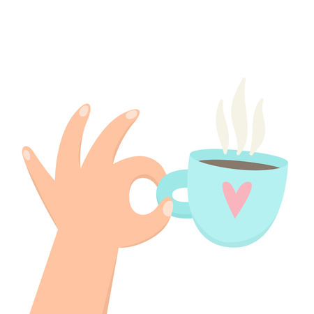 Hand holding cup with hot beverage. Coffee, tea. Vector cartoon illustration.
