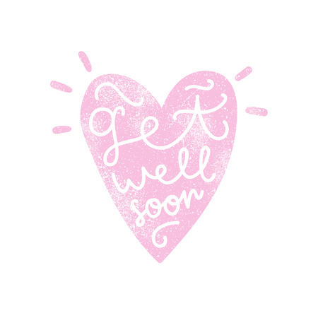 Get well soon. Heart silhouette with calligraphy. Vector art.