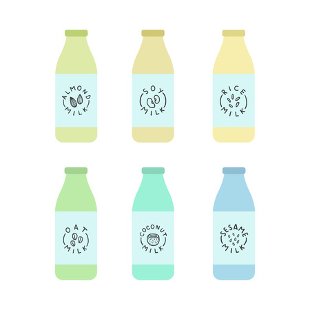 soy free: Bottles with plant based milk. Soy and almond, cashew, soy, sesame, oat. Vector hand drawn illustration Illustration