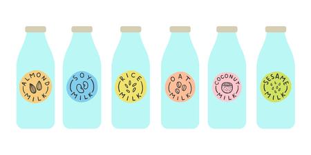 Bouteilles avec différentes variations de lait à base de plantes. Illustration de vecteur dessinés à la main Banque d'images