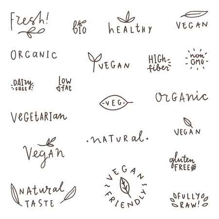 Set of natural, organic, vegetarian vegan bio labels. Vector hand written words. Ilustração