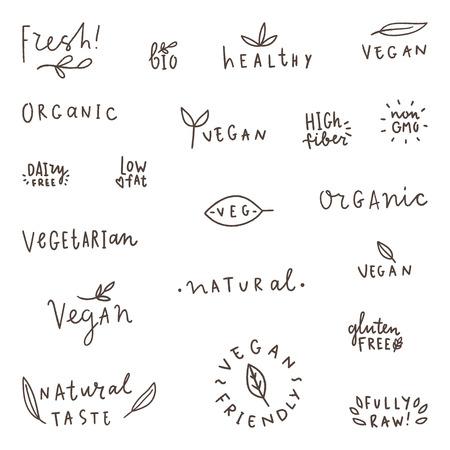 Set van natuurlijke, biologische, vegetarische vegan bio labels. Vector handgeschreven woorden.