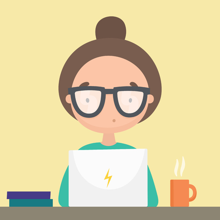 Girl working in her laptop. Vector hand drawn cartoon illustration Illustration