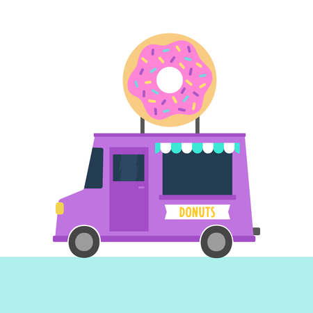 hand truck: Truck with donuts. Vector hand drawn illustration Illustration