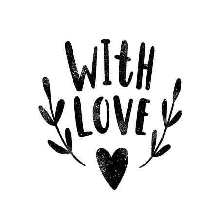 Met liefde. Zwarte silhouet. drawn Vector hand illustratie Stockfoto