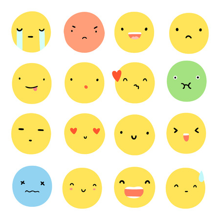 Set of different face emotions. Vector hand drawn cartoon illustration