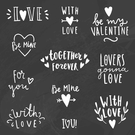 cute love: Cute love signs. Chalk on a blackboard. Vector hand drawn illustration