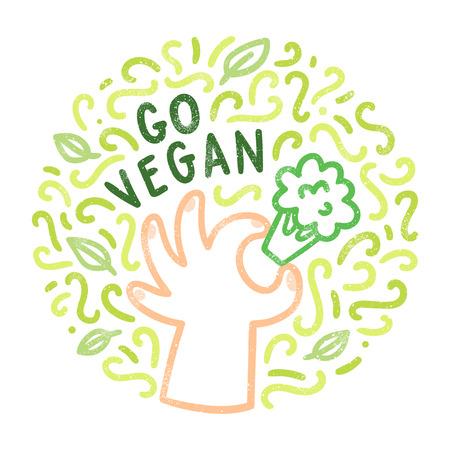 Go vegan. Hand drawn doodles. Vector illustration