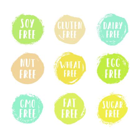 Set of allergen free badges. Can be used for packaging design. Vector illustration Ilustração