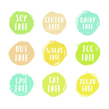 Set of allergen free badges. Can be used for packaging design. Vector illustration Illustration