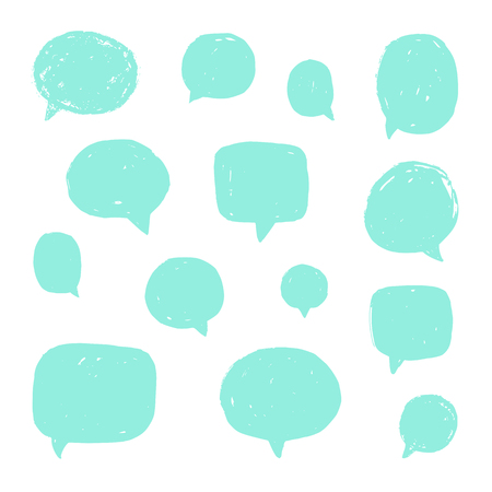 Set of speech bubbles with old grunge texture. Vector hand drawn illustration