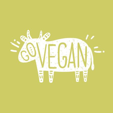 Go vegan motivational illustration. Vector hand drawn cow silhouette