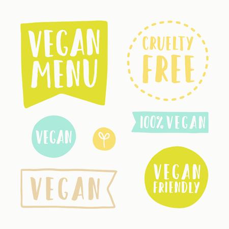 cruelty: Vegan menu, cruelty free. Set of hand drawn vector badges Illustration