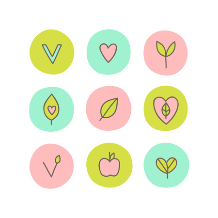 Set of vegan, natural, organic abstract icons. Can be used for packaging design. Illustration
