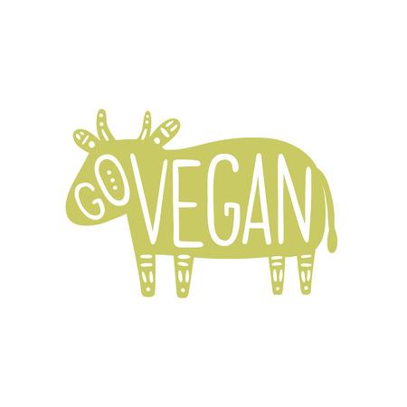 animal cruelty: Go vegan motivational illustration. Pig silhouette. Vector Illustration