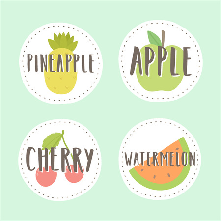 Set of fruit badges. Part 3. Can be used for packaging design. Part