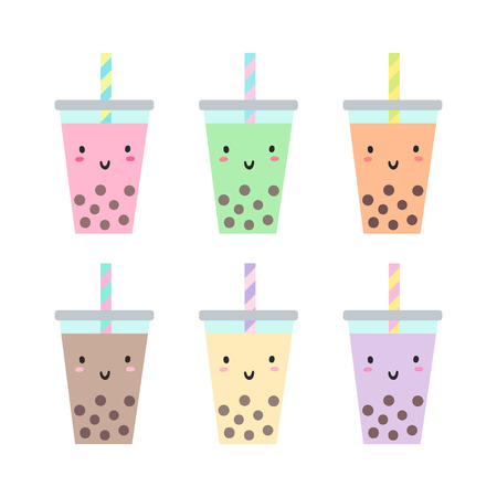 Set of different cups with bubble tea. Vector hand drawn illustration