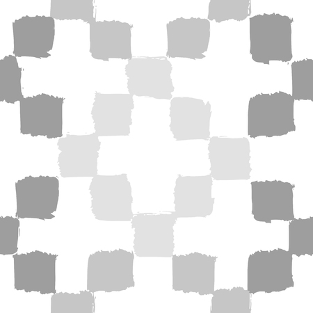 checkerboard backdrop: Monochrome grey geometric background. Vector hand drawn seamless pattern