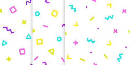 Set of three backgrounds with symbols. Vector hand drawn seamless pattern Illustration