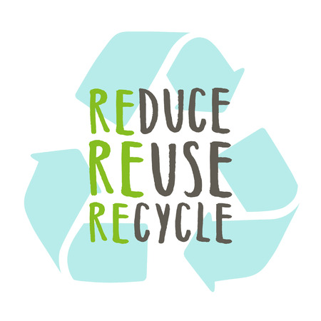 reduce reuse recycle vector hand drawn recycling sign stock photo