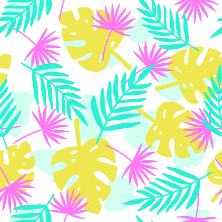 Bright tropical leafs background. Vector hand drawn seamless pattern Stock Photo